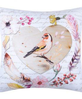 Perna pasare inima flori Charmelia Blanc Coeur 40X40 cm