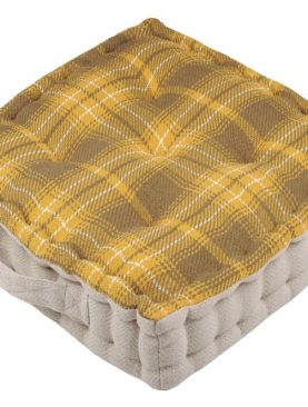 Perna podea carouri galbene Arnold Moutarde 45x45x10 cm