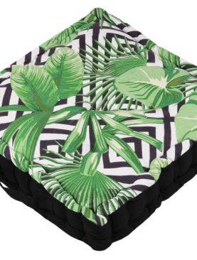 Perna podea frunze tropicale Zapotek Vert 45x45x10 cm