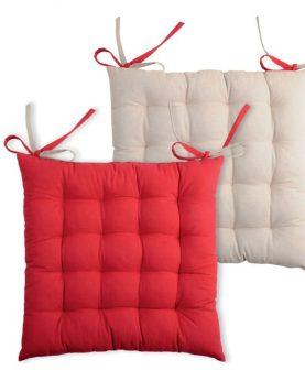 Perna rosie scaun Duo Galette Rouge Lin 40X40 cm