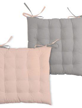 Perna roz scaun bumbac Duo Galette Poudre Souris 40X40 cm