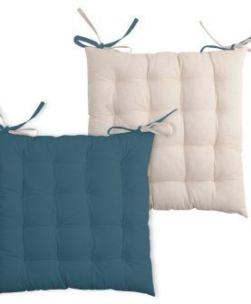 Perna scaun albastru inchis Duo Galette Petrole Lin 40x40 cm