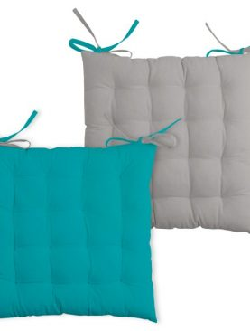 Perna turcoaz inchis scaun Duo Galette Celadon Souris 40x40 cm