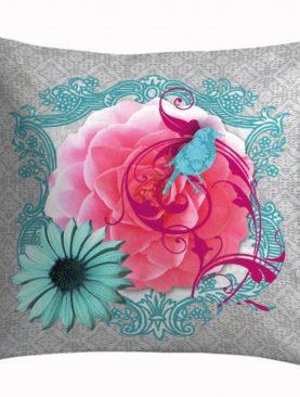 Perna turcoaz pasare bumbac 50x50 cm Colorama2
