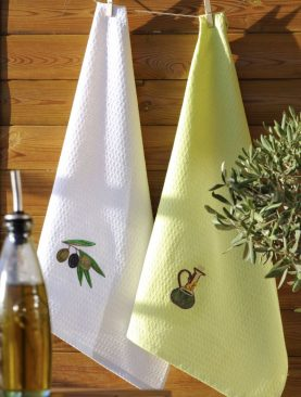 Prosop bucatarie alb masliniu bumbac Oliva - set 2 buc 50x70 cm