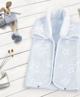 Sac dormit patura albastra bebelusi stelute 6628 Azul 80x90 cm
