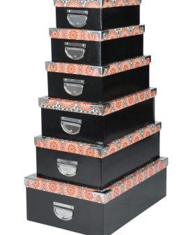 Set 6 cutii depozitare Burundi Noir 44x31 cm