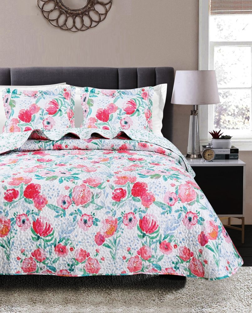 cuvertura pat fetite flori rosii 7846 MIA