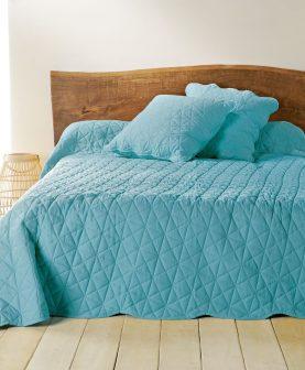 cuvertura albastra pat dormitor