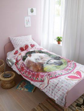 Lenjerie pat roz fetite cu calut Favorites 200x200/220 cm
