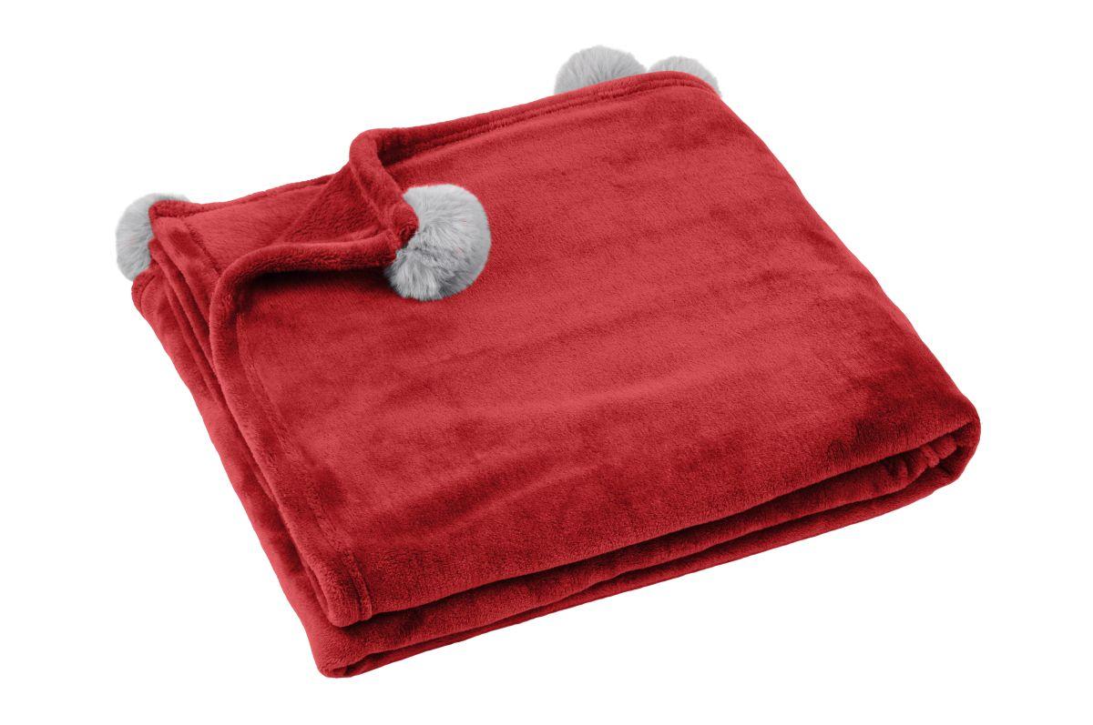 patura rosie ciucuri Mellow Rouge 130×160 cm