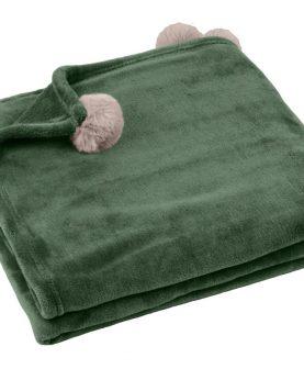 patura verde cu ciucuri