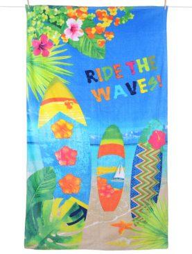 Prosop plaja surf bumbac Wavy 100x180 cm