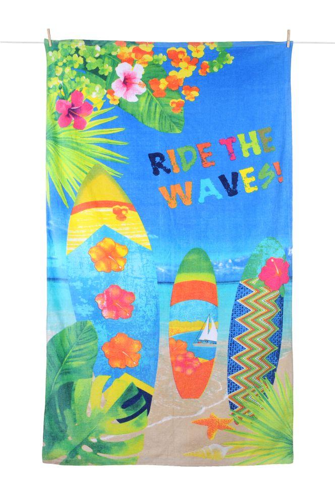 prosop plaja surf Wavy 100×180 cm